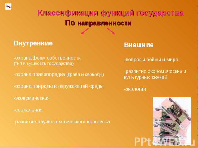 Классификация функций государства По направленностиВнутренние-охрана форм собственности (тип и сущность государства)-охрана правопорядка (права и свободы)-охрана природы и окружающей среды-экономическая-социальная-развитие научно-технического прогре…