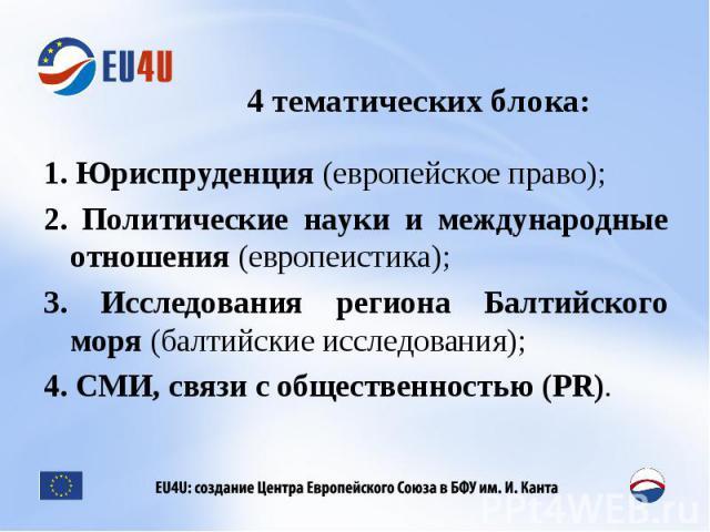 4 тематических блока: 1. Юриспруденция (европейское право);2. Политические науки и международные отношения (европеистика);3. Исследования региона Балтийского моря (балтийские исследования);4. СМИ, связи с общественностью (PR).