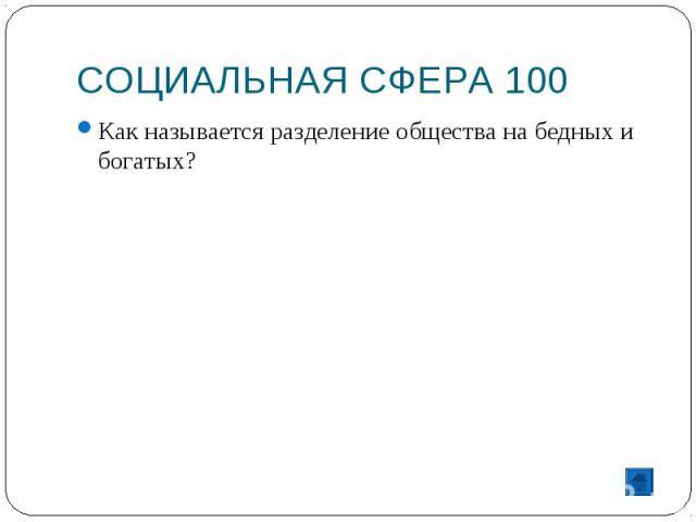 СОЦИАЛЬНАЯ СФЕРА 100 Как называется разделение общества на бедных и богатых?