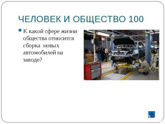 ЧЕЛОВЕК И ОБЩЕСТВО 100 К какой сфере жизни общества относится сборка новых автомобилей на заводе?