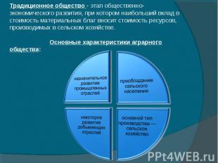 Традиционное общество - этап общественно-экономического развития, при котором на