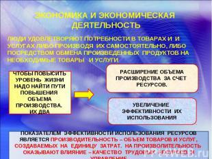 ЭКОНОМИКА И ЭКОНОМИЧЕСКАЯ ДЕЯТЕЛЬНОСТЬ ЛЮДИ УДОВЛЕТВОРЯЮТ ПОТРЕБНОСТИ В ТОВАРАХ