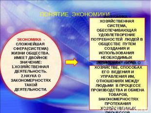 ПОНЯТИЕ ЭКОНОМИКИ. ЭКОНОМИКА - СЛОЖНЕЙШАЯ СФЕРА(СИСТЕМА) ЖИЗНИ ОБЩЕСТВА. ИМЕЕТ Д