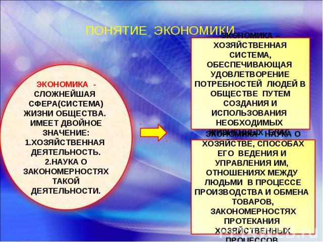 ПОНЯТИЕ ЭКОНОМИКИ. ЭКОНОМИКА - СЛОЖНЕЙШАЯ СФЕРА(СИСТЕМА) ЖИЗНИ ОБЩЕСТВА. ИМЕЕТ ДВОЙНОЕ ЗНАЧЕНИЕ:ХОЗЯЙСТВЕННАЯ ДЕЯТЕЛЬНОСТЬ.НАУКА О ЗАКОНОМЕРНОСТЯХ ТАКОЙ ДЕЯТЕЛЬНОСТИ.ЭКОНОМИКА – ХОЗЯЙСТВЕННАЯ СИСТЕМА, ОБЕСПЕЧИВАЮЩАЯ УДОВЛЕТВОРЕНИЕ ПОТРЕБНОСТЕЙ ЛЮДЕЙ…