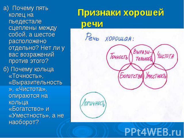 Признаки хорошей речи а) Почему пять колец на пьедестале сцеплены между собой, а шестое расположено отдельно? Нет ли у вас возражений против этого? б) Почему кольца «Точность», «Выразительность», «Чистота», опираются на кольца «Богатство» и «Уместно…