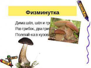 Физминутка Дима шёл, шёл и грибок нашёл.Раз грибок, два грибок, Полезай-ка в куз