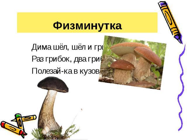 Физминутка Дима шёл, шёл и грибок нашёл.Раз грибок, два грибок, Полезай-ка в кузовок.