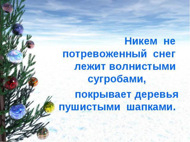 Никем не потревоженный снег лежит волнистыми сугробами, покрывает деревья пушистыми шапками.