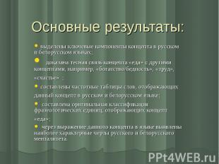 Основные результаты: выделены ключевые компоненты концепта в русском и белорусск