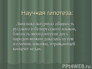 Научная гипотеза: Лингвокультурную общность русского и белорусского языков, близ