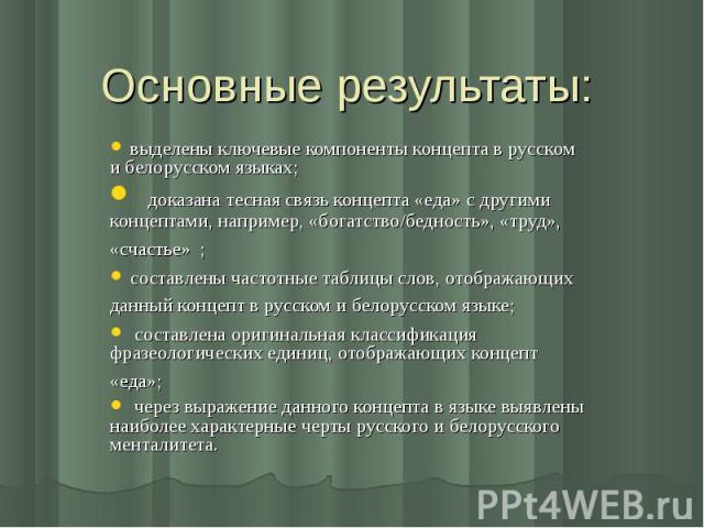 Основные результаты: выделены ключевые компоненты концепта в русском и белорусском языках; доказана тесная связь концепта «еда» с другими концептами, например, «богатство/бедность», «труд», «счастье» ; составлены частотные таблицы слов, отображающих…