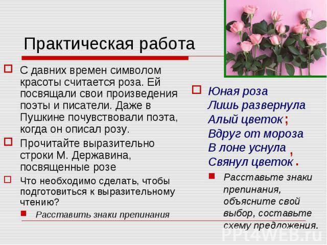 Практическая работа С давних времен символом красоты считается роза. Ей посвящали свои произведения поэты и писатели. Даже в Пушкине почувствовали поэта, когда он описал розу.Прочитайте выразительно строки М. Державина, посвященные розеЧто необходим…