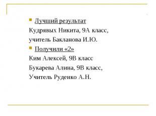 Лучший результатКудрявых Никита, 9А класс, учитель Бакланова И.Ю.Получили «2»Ким