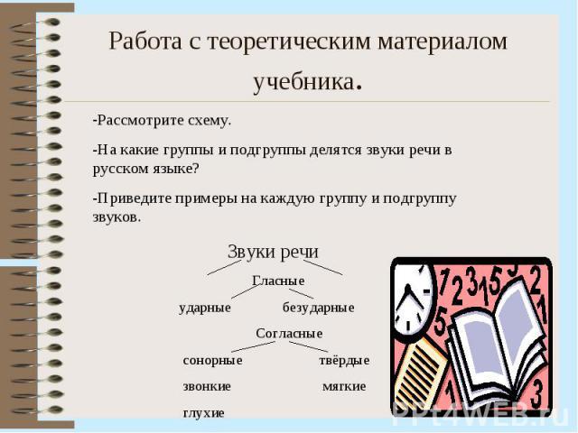 Работа с теоретическим материалом учебника. Рассмотрите схему.-На какие группы и подгруппы делятся звуки речи в русском языке?-Приведите примеры на каждую группу и подгруппу звуков.
