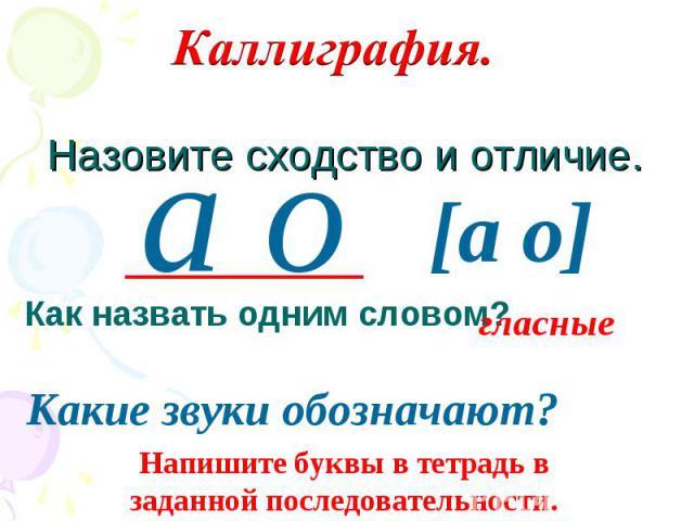 Каллиграфия. Назовите сходство и отличие. Как назвать одним словом?гласныеКакие звуки обозначают?Напишите буквы в тетрадь в заданной последовательности.
