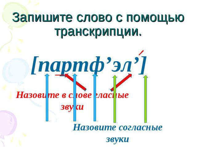 Запишите слово с помощью транскрипции.