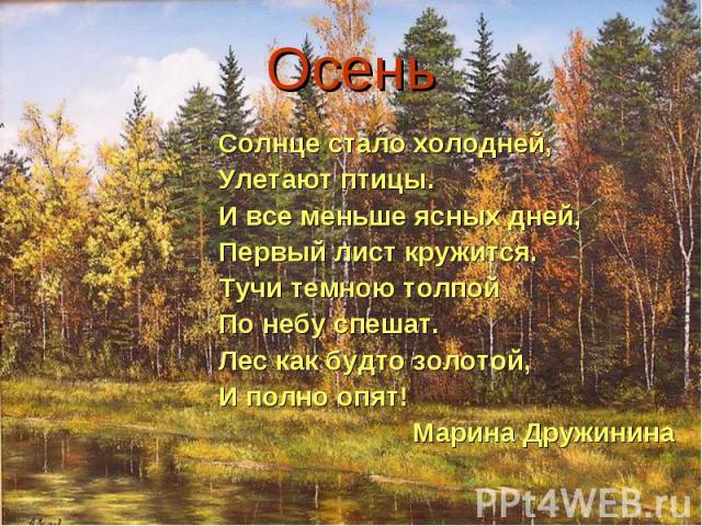 Осень Солнце стало холодней,Улетают птицы.И все меньше ясных дней,Первый лист кружится.Тучи темною толпойПо небу спешат. Лес как будто золотой,И полно опят! Марина Дружинина