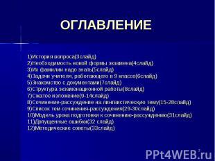 ОГЛАВЛЕНИЕ 1)История вопроса(3слайд)2)Необходимость новой формы экзамена(4слайд)