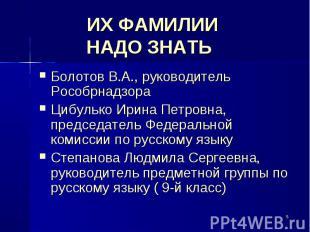 ИХ ФАМИЛИИ НАДО ЗНАТЬ Болотов В.А., руководитель Рособрнадзора Цибулько Ирина Пе