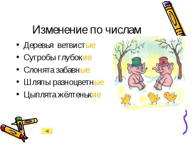 Изменение по числам Деревья ветвистыеСугробы глубокиеСлонята забавныеШляпы разноцветныеЦыплята жёлтенькие