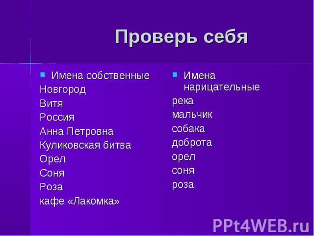 Проверь себя Имена собственныеНовгородВитяРоссияАнна ПетровнаКуликовская битваОрелСоняРозакафе «Лакомка»Имена нарицательныерекамальчиксобакадобротаорелсоняроза