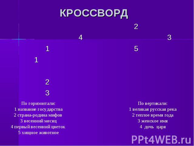 КРОССВОРД страна-родина По вертикали:1 великая русская река2 теплое время года3 женское имя4 дочь царя