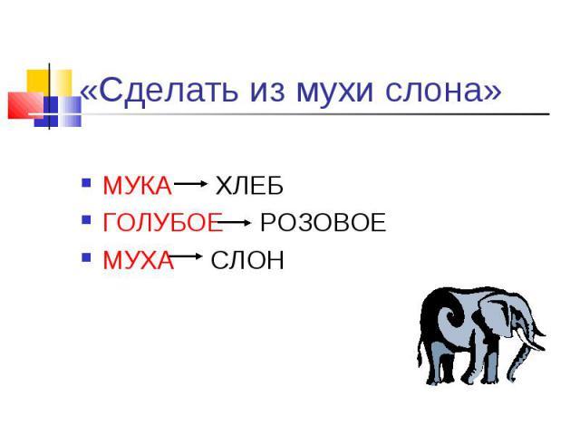 «Сделать из мухи слона» МУКА ХЛЕБГОЛУБОЕ РОЗОВОЕМУХА СЛОН