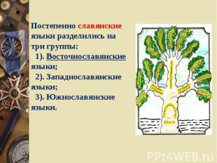 Постепенно славянские языки разделились на три группы: 1). Восточнославянские яз