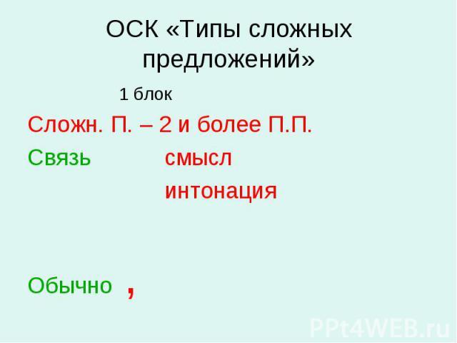 ОСК «Типы сложных предложений» 1 блокСложн. П. – 2 и более П.П.СвязьсмыслинтонацияОбычно ,