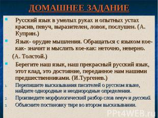 ДОМАШНЕЕ ЗАДАНИЕ Русский язык в умелых руках и опытных устах красив, певуч, выра
