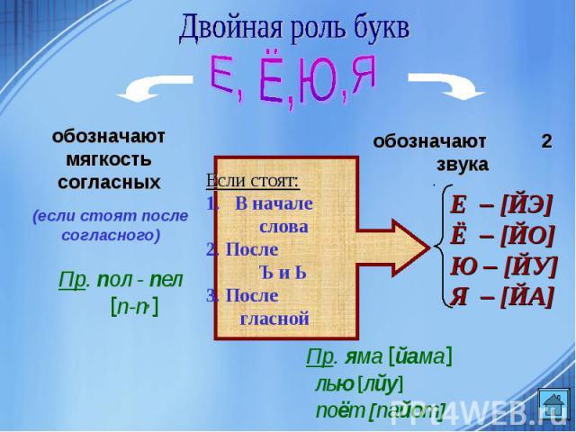 Двойная роль букв обозначают мягкость согласныхЕсли стоят:В начале слова2. После Ъ и Ь3. После гласной