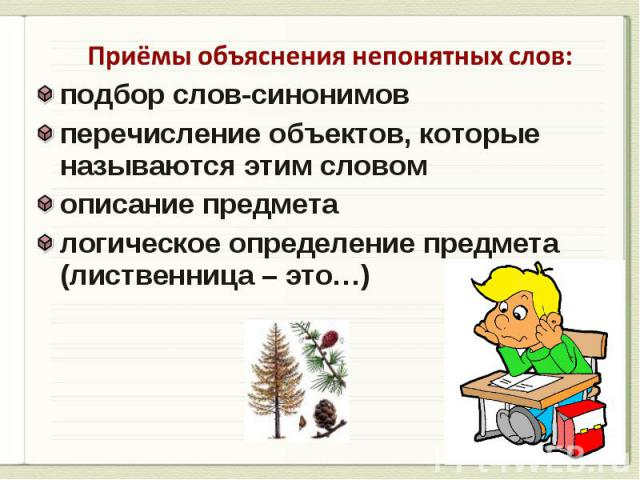 Приёмы объяснения непонятных слов: подбор слов-синонимов перечисление объектов, которые называются этим словом описание предмета логическое определение предмета (лиственница – это…)