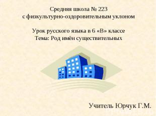 Средняя школа № 223с физкультурно-оздоровительным уклономУрок русского языка в 6
