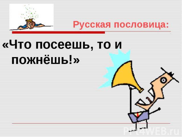 Русская пословица: «Что посеешь, то и пожнёшь!»