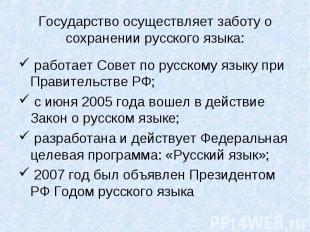 Государство осуществляет заботу о сохранении русского языка: работает Совет по р