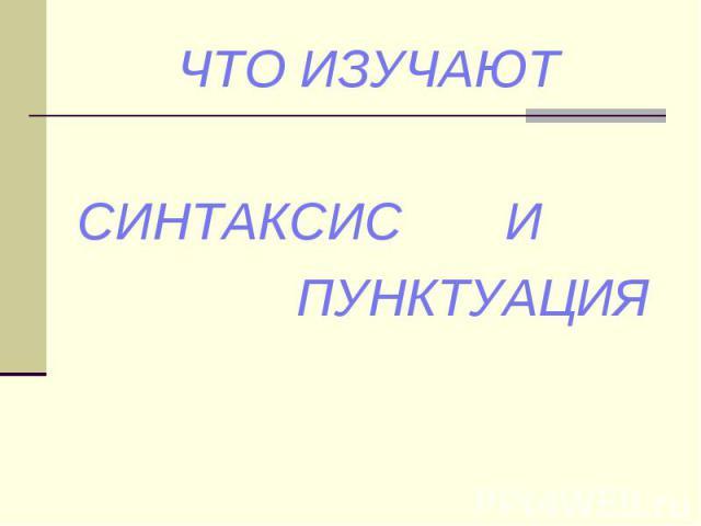 Что изучает синтаксис и пунктуация