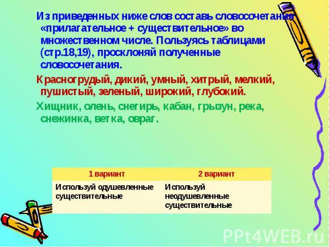 Из приведенных ниже слов составь словосочетания «прилагательное + существительное» во множественном числе. Пользуясь таблицами (стр.18,19), просклоняй полученные словосочетания. Красногрудый, дикий, умный, хитрый, мелкий, пушистый, зеленый, широкий,…