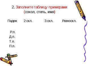 2. Заполните таблицу примерами (сокол, степь, имя)