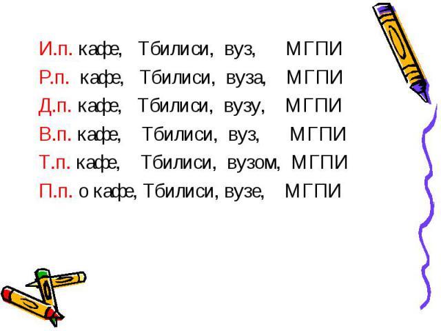 И.п. кафе, Тбилиси, вуз, МГПИ Р.п. кафе, Тбилиси, вуза, МГПИ Д.п. кафе, Тбилиси, вузу, МГПИ В.п. кафе, Тбилиси, вуз, МГПИ Т.п. кафе, Тбилиси, вузом, МГПИ П.п. о кафе, Тбилиси, вузе, МГПИ