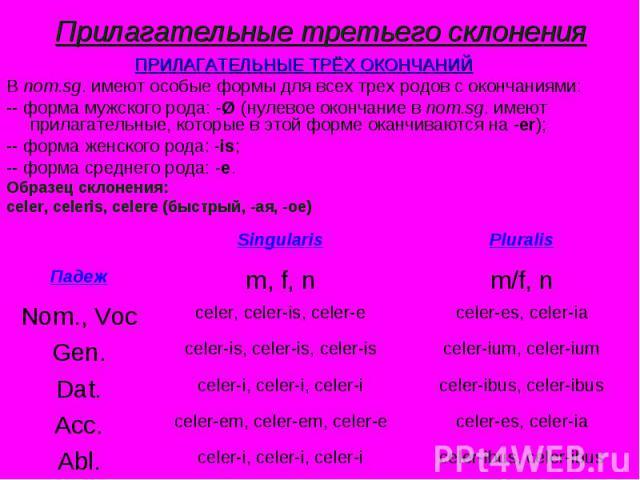 Прилагательные третьего склонения ПРИЛАГАТЕЛЬНЫЕ ТРЁХ ОКОНЧАНИЙВ nom.sg. имеют особые формы для всех трех родов с окончаниями:-- форма мужского рода: -Ø (нулевое окончание в nom.sg. имеют прилагательные, которые в этой форме оканчиваются на -er);-- …