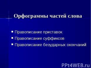 Орфограммы частей слова Правописание приставок Правописание суффиксовПравописани