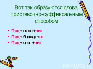 Вот так образуются слова приставочно-суффиксальным способом Под + окно +никПод +