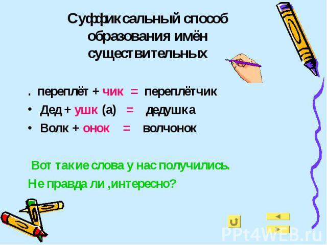 Суффиксальный способ образования имён существительных . переплёт + чик = переплётчикДед + ушк (а) = дедушкаВолк + онок = волчонок Вот такие слова у нас получились.Не правда ли ,интересно?