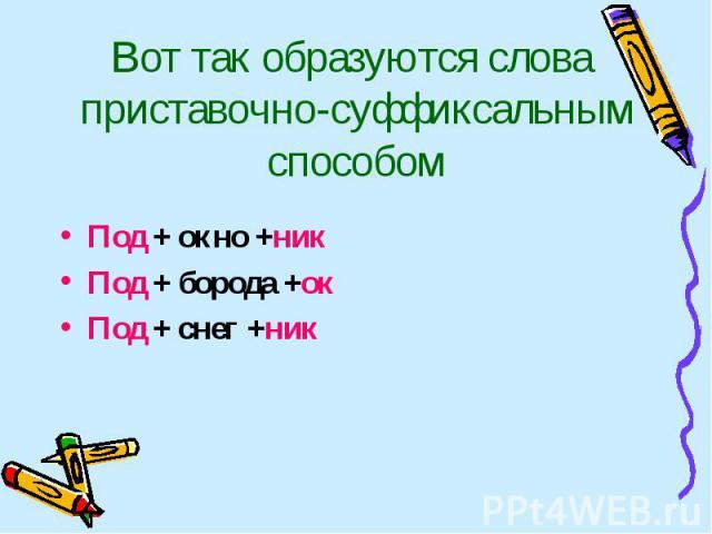 Вот так образуются слова приставочно-суффиксальным способом Под + окно +никПод + борода +окПод + снег +ник