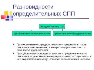 Разновидности определительных СПП Приместоименно-определительные – придаточная ч