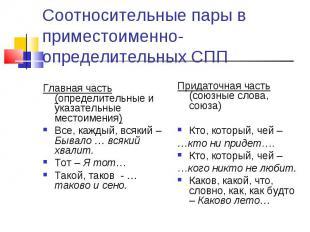 Соотносительные пары в приместоименно-определительных СПП Главная часть (определ