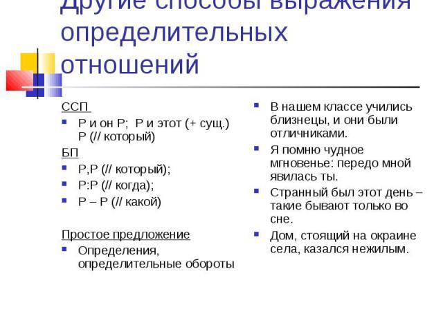 Другие способы выражения определительных отношений ССП Р и он Р; Р и этот (+ сущ.) Р (// который)БПР,Р (// который); Р:Р (// когда); Р – Р (// какой)Простое предложениеОпределения, определительные оборотыВ нашем классе учились близнецы, и они были о…