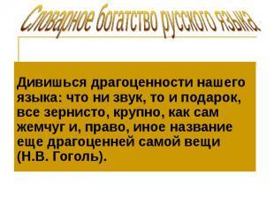 Словарное богатство русского языка Дивишься драгоценности нашего языка: что ни з