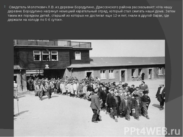 Свидетель Молоткович Л.В. из деревни Бородулино, Дриссенского района рассказывает: «На нашу деревню Бородулино нагрянул немецкий карательный отряд, который стал сжигать наши дома. Затем таким же порядком детей, старший из которых не достигал еще 12-…