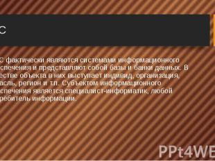 ИПС ИПС фактически являютсясистемами информационного обеспеченияи пр